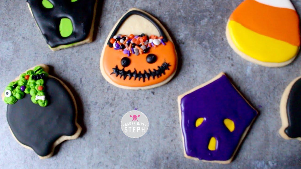 Halloween Iced Sugar Cookies.3 Easy Decorated Halloween Cookie Ideas Sugar Cookies Youtube