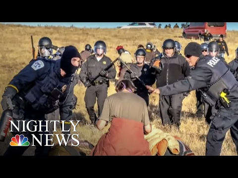 Police Clad In Riot Gear Move In On Dakota Access Pipeline Protesters | NBC Nightly News