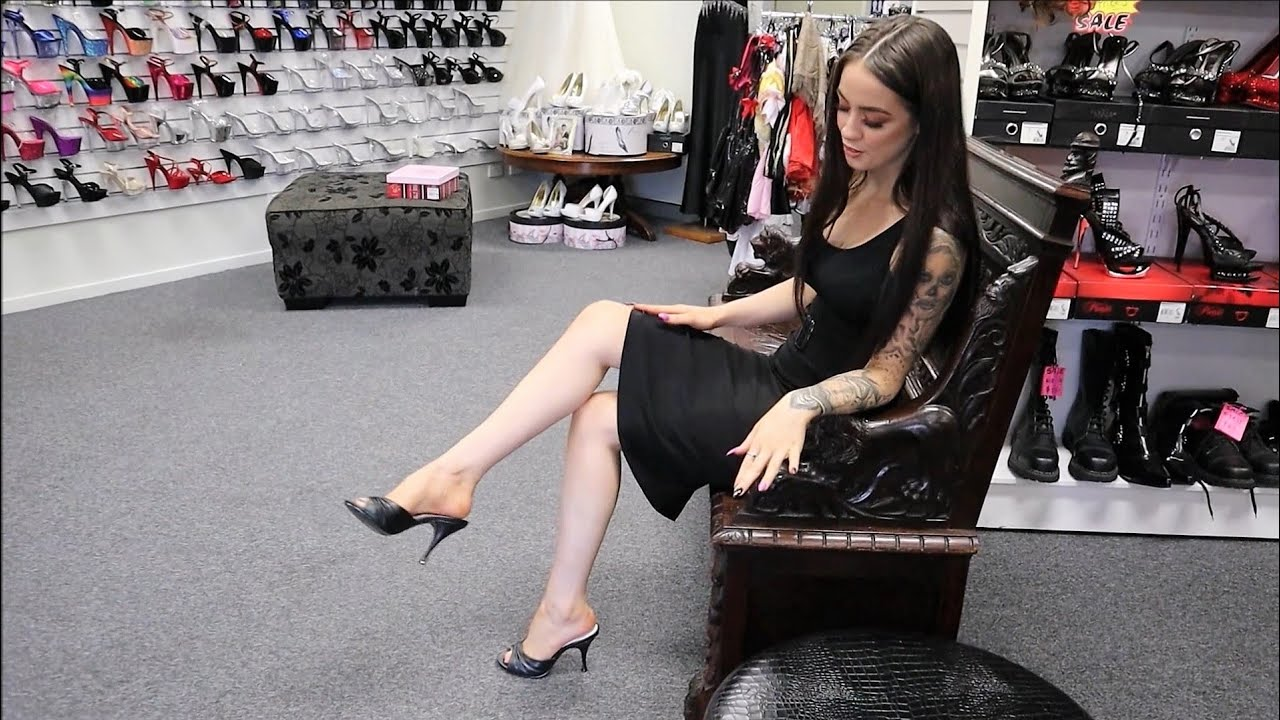 Review Retro 50s Pin Up Couture-Monroe-01 Black Mule Slide 4.25 Inch High Heel Shoes Unbox By Rose