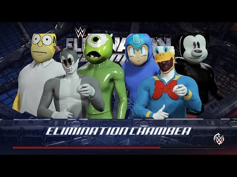 WWE 2K16 Mickey Mouse vs Donald Duck vs Bugs Bunny vs Megaman vs Mike vs Homer Simson