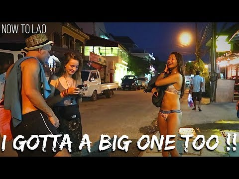 Travel Laos: Walking Street Vang Vieng Night Market - VangVieng Drone Video - Now to Lao travel vlog