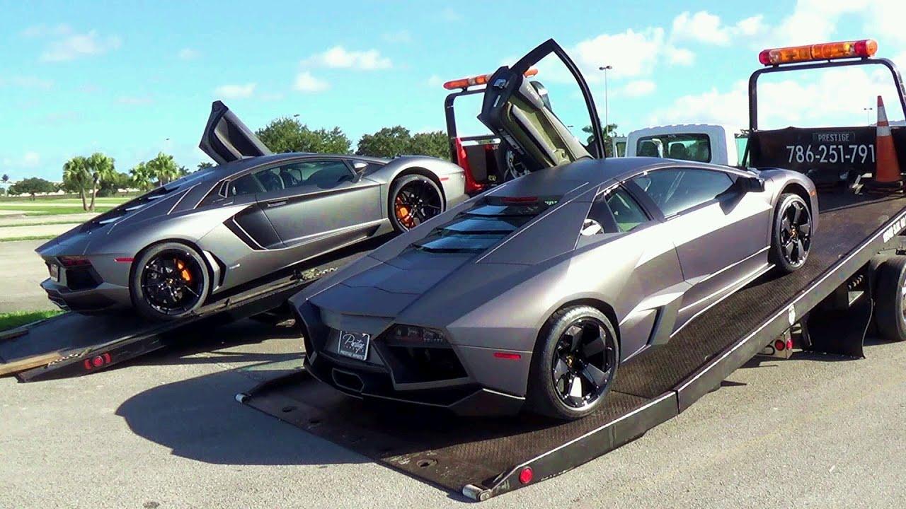 Lamborghini Reventon Vs Lamborghini Aventador Gets Towed Youtube