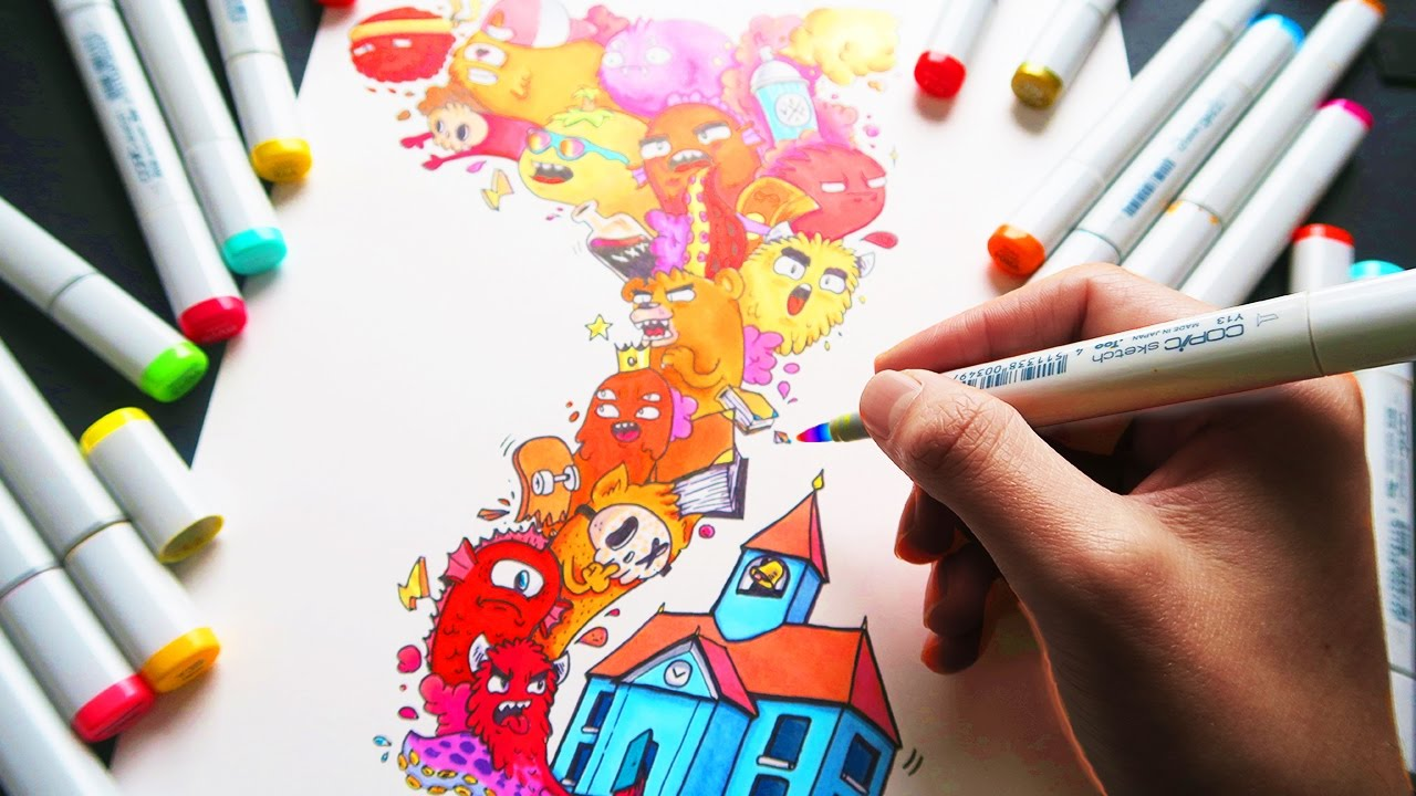 copic marker illustration escape youtube