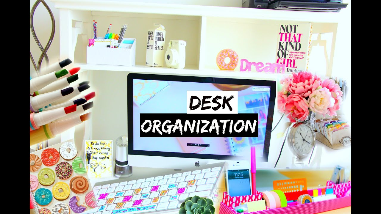 diy desk organization decoration ideas youtube. Black Bedroom Furniture Sets. Home Design Ideas