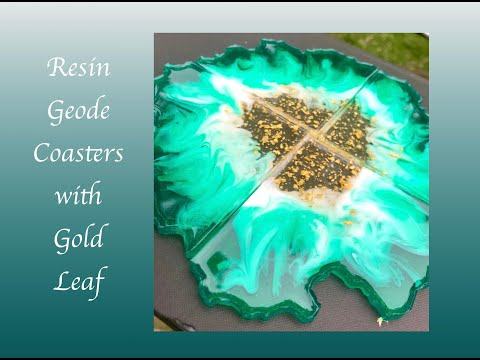 Resin Art Silicone Mold Coasters with Gold Leaf Embellishments