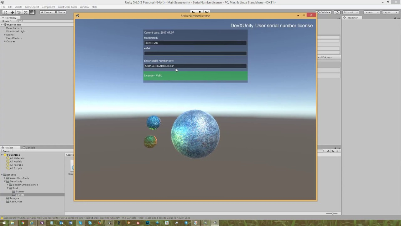 Serial Number License tools for Unity3d games
