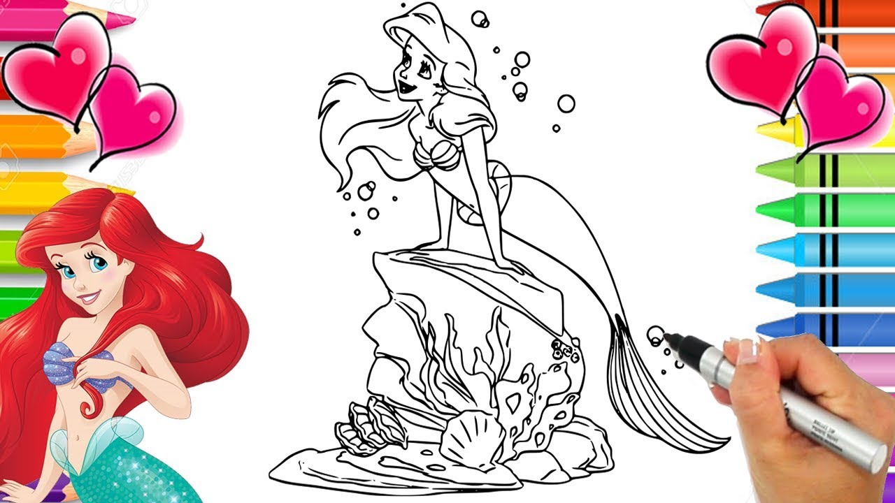 Ariel Glitter Art Coloring Page | Disney\'s The Little Mermaid ...