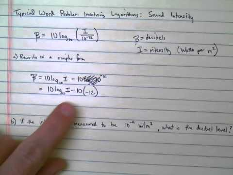 Logarithmic Word Problem Sound Intensity Youtube