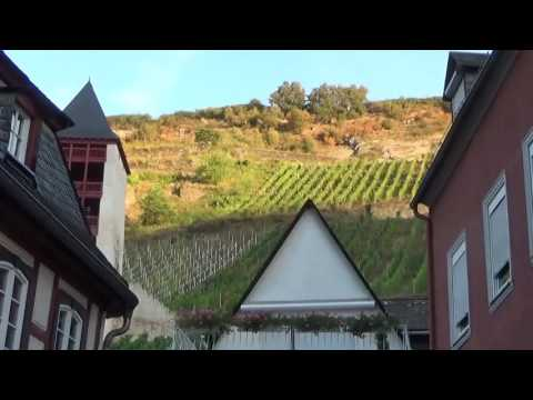 A tourist walks about Bacharach, Germany, before the tourists get up