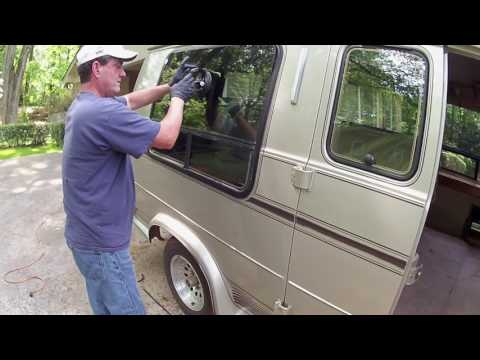 Replacing the glass in a broken Bay Window in my 1993 Chevy G20 Conversion Van.