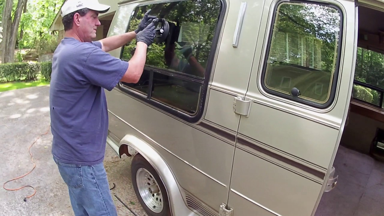 Replacing The Glass In A Broken Bay Window My 1993 Chevy G20 Conversion Van