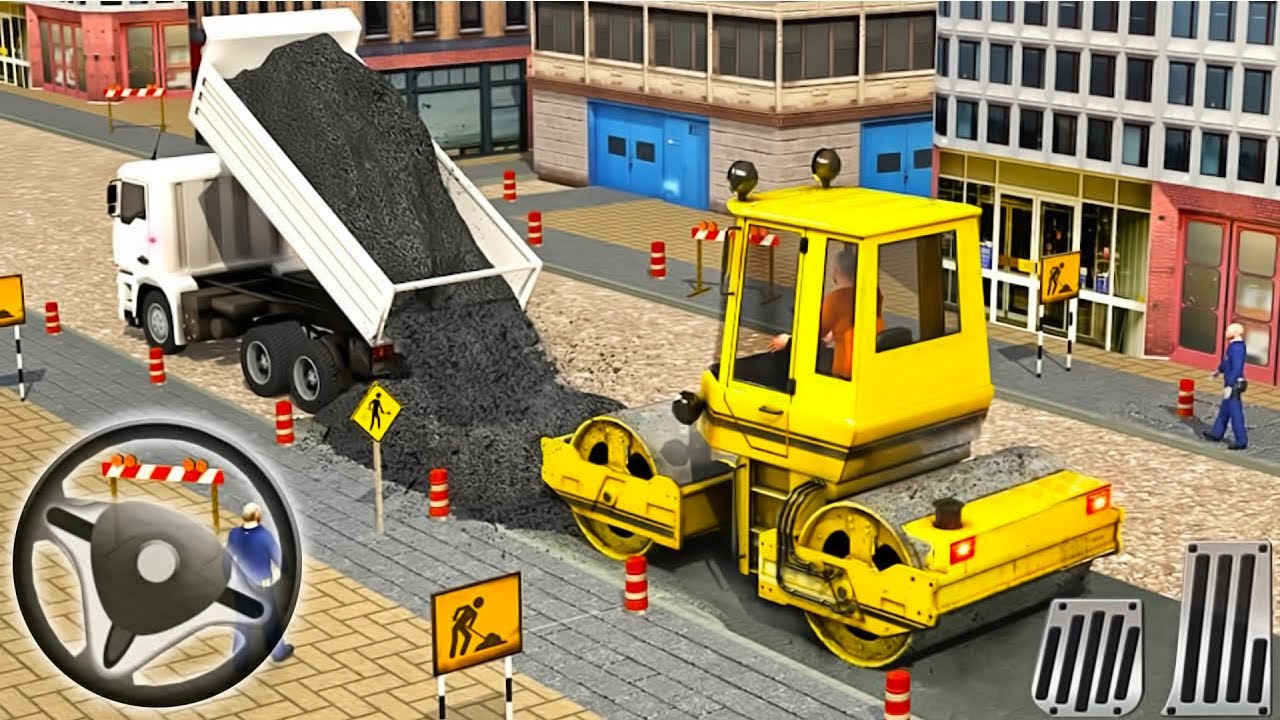 -City Road Builder Simulator 2020#1-Construction Machines Driving Android Gameplay