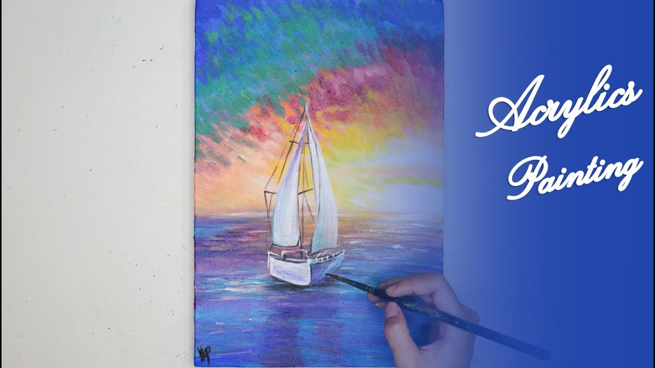 Acrylics Painting #116 Step by Step Draw Boat With Sunset Acrylic Painting For Beginners