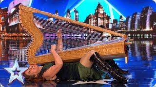 Ursula Burns SHOCKS Judges with her risqué harp playing | Auditions | BGT 2019