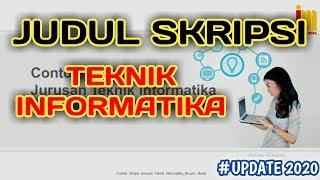 Kumpulan Judul Skripsi Teknik Informatika Terbaru Youtube