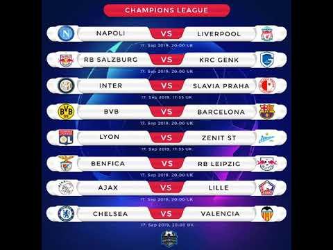 fixtures champions league 17 09 2019 youtube fixtures champions league 17 09 2019