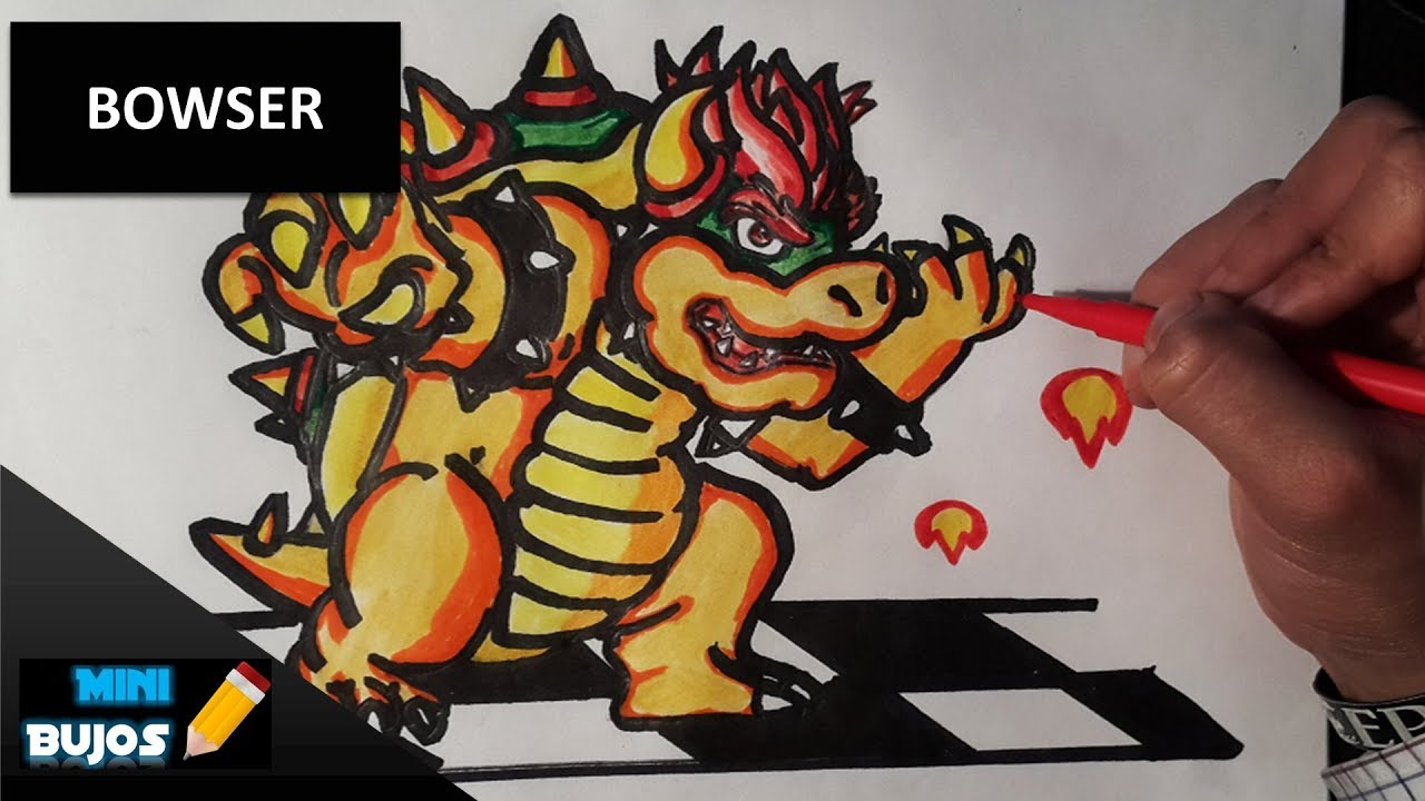 DIBUJAR A BOWSER / DRAWING BOWSER (SPEED DRAW) - YouTube