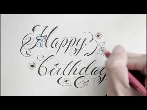 How To Write Cursive Fancy Letters Happy Birthday For Beginners Youtube