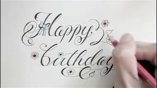 How to write Happy birthday in cursive fancy letters | easy way