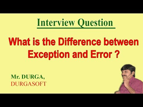 Difference between Exception and Error
