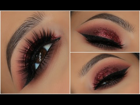 Red Glitter Smokey Eye