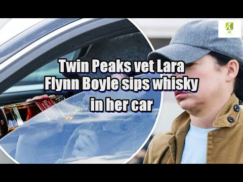 Twin Peaks vet Lara Flynn Boyle sips whisky in her car
