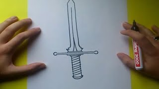 Como dibujar una espada paso a paso 4 | How to draw a sword 4