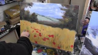 маковое поле, художник Сахаров, живопись для начинающих