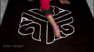shanku kolam designs with 9x5 dots || shanku muggulu designs with dots || easy rangoli designs
