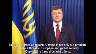 President of Ukraine speaks on Malaysia Airlines crash. (English subtitles)