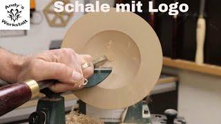 Schale drechseln mit Edelstahl Logo - diy