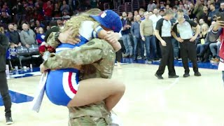 Army Sergeant Surprises Girlfriend With Homecoming Thanks to 76ers Mascot