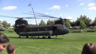 Chinook helicopter takes off during Memorial Day festival