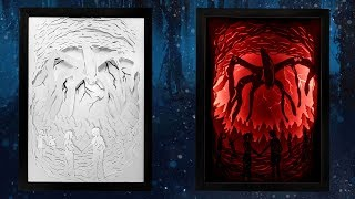 COMO CRIAR UM QUADRO PAPERCUT LIGHT BOX DO STRANGER THINGS (COM LED) - NETFLIX (DIY)