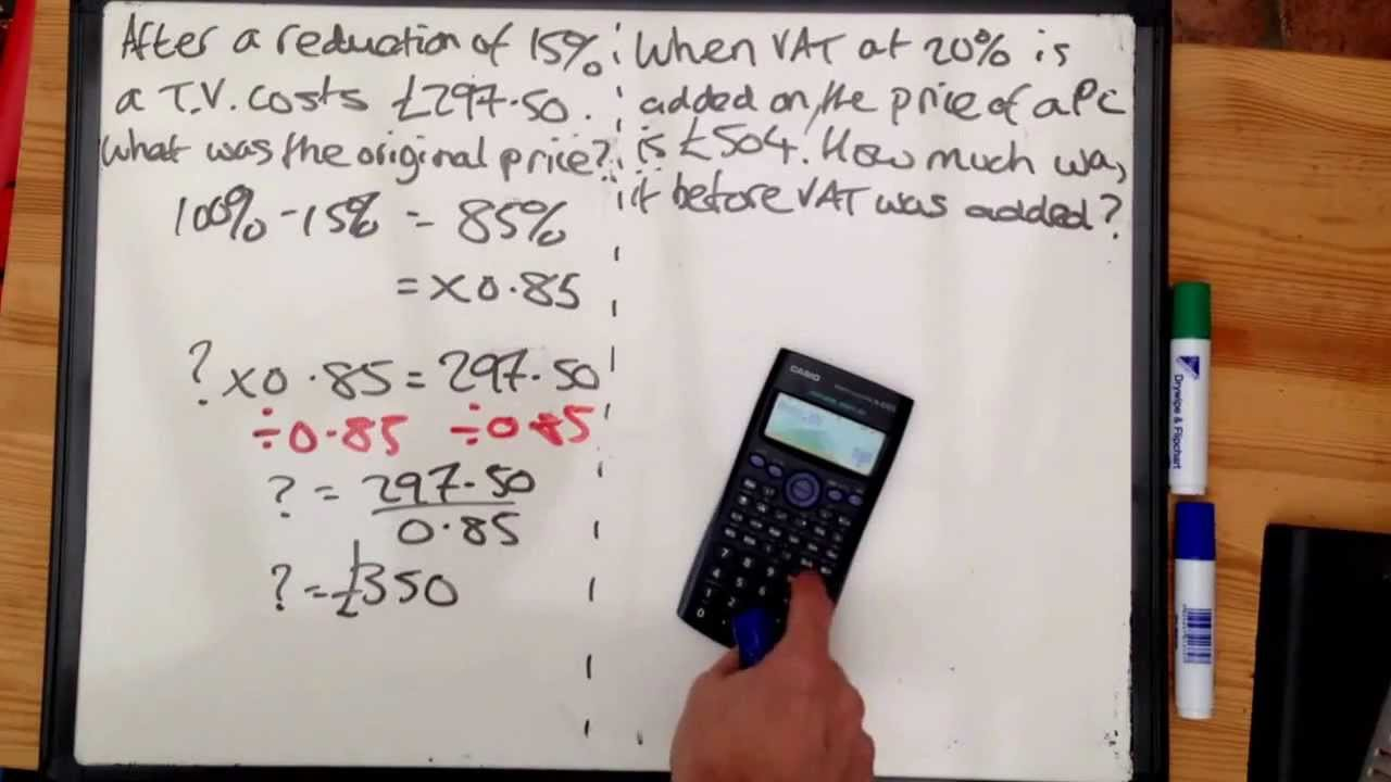 Tudor Hall Maths Number Reverse Percentage Increase And Decrease To Find  Original Amount
