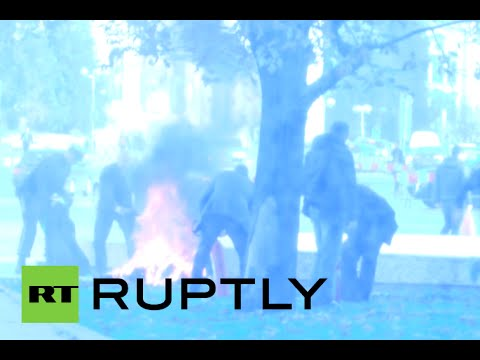 GRAPHIC: Woman sets herself ablaze outside president's office in Bulgaria