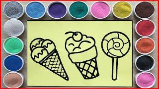 TÔ MÀU TRANH CÁT KẸO CẦU VỒNG, KEM CHERRY, KEM DÂU - Ice cream rainbow sand painting (Chim Xinh)