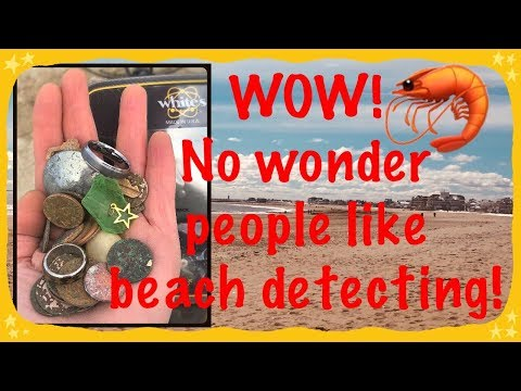 Metal detecting the beach for gold, jewelry, coins, & a wedding band!