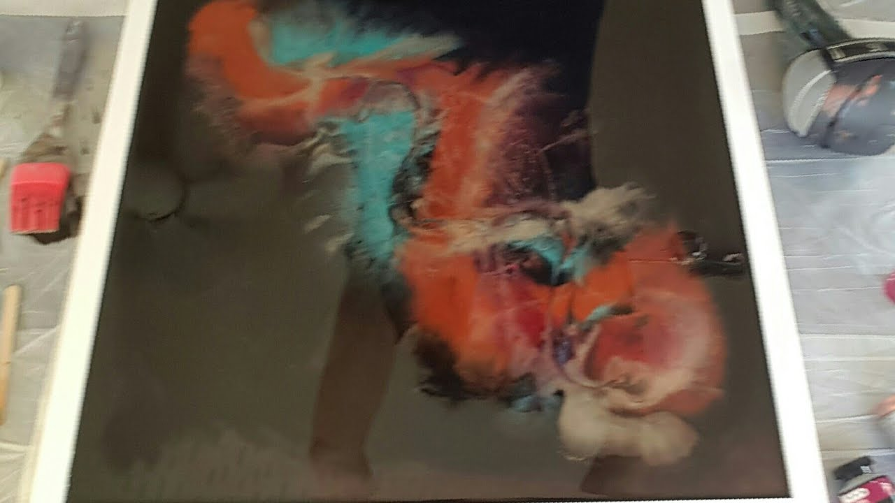 Resin art on framed glass black negative space