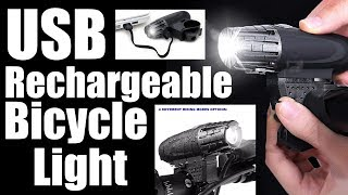 USB Rechargeable Bicycle Headlight & Tail Light With Strap & Charging Cable Waterproof
