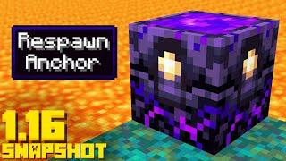 Minecraft 1.16 Snapshot NEW RESPAWN ANCHOR BLOCK Update (20w12a)