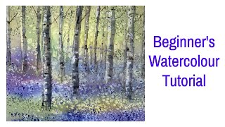 How To Paint Bluebells Woods & Silver Birch Trees Landscape In Watercolour