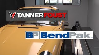 Tanner Foust's awesome garage and super-tall BendPak lift.