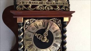 Large Dutch 8 Day Nut Wood Bim Bam Zaanse Wall Clock