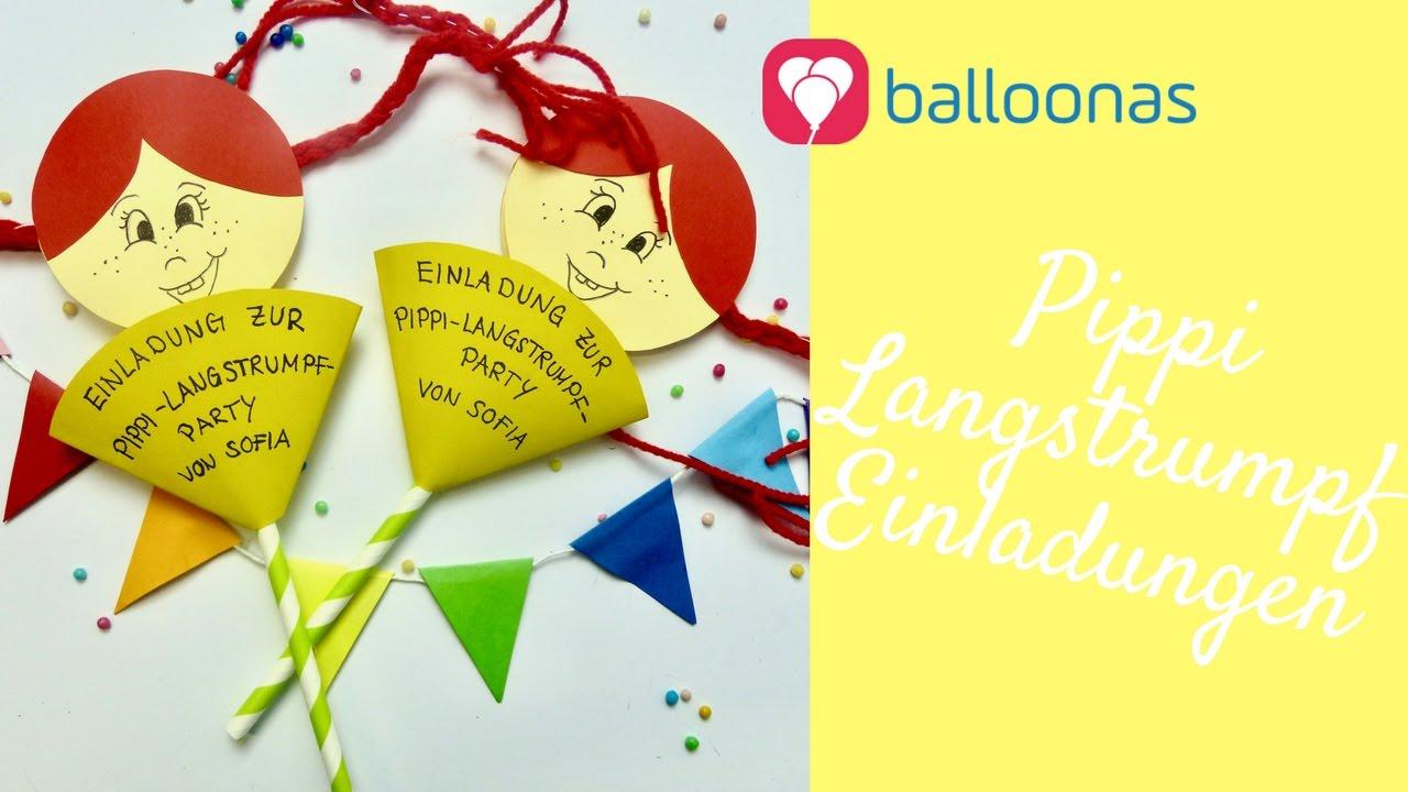 balloonas idee / diy: lustige pippi langstrumpf einladungen mit, Einladung