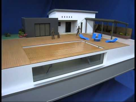 Maquette piscine youtube for Piscine fond mobile cout