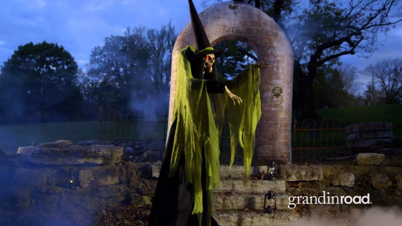 All Road Signs >> Animated Towering Macabre Witch   Grandin Road - YouTube