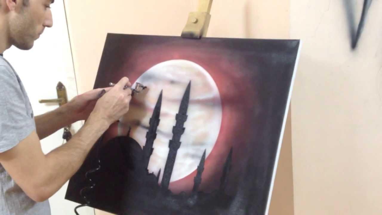 رسم لوحة فنية في 10 دقائق الرسام أسامة نصر Youtube