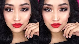 GOLD GLITTER BROWN SMOKEY EYE WITH BRIGHT RED LIP MAKE UP TUTORIAL | STEPHANY FLAMENCO