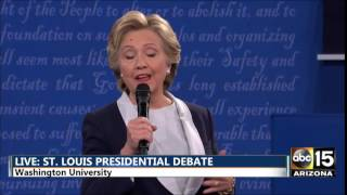 Second Presidential Debate - Hillary Clinton fly on forehead face - Clinton vs. Donald Trump